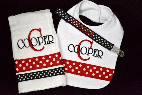Personalized Monogrammed Bib Burp and Pacifier by ...