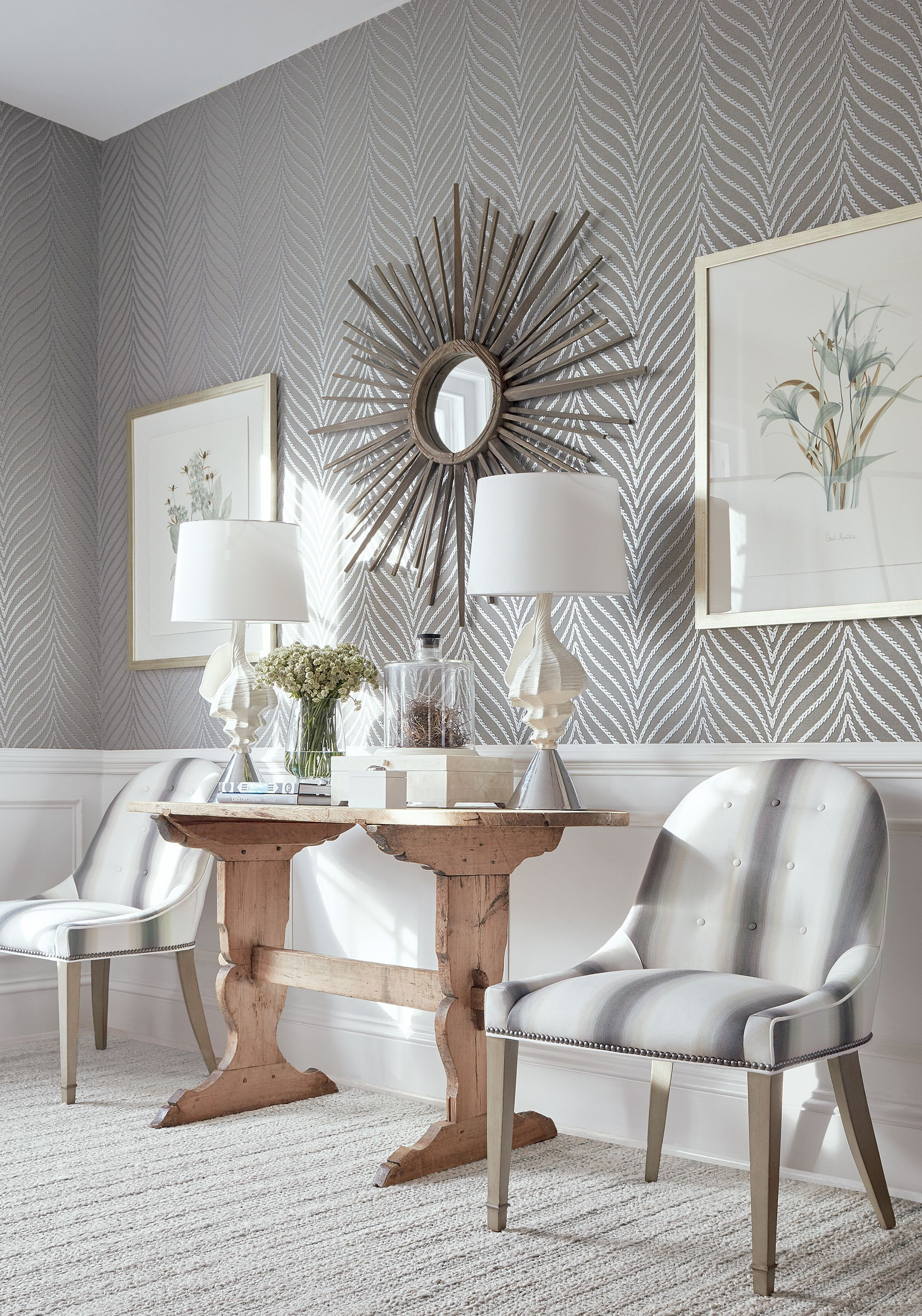 Clayton Herringbone From Dynasty Collection Grey Wallp