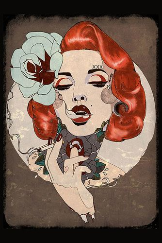 Smoking Hot by Amy Dowell Fine Art Print Rockabilly Tattooed Woman Pin Up Girl