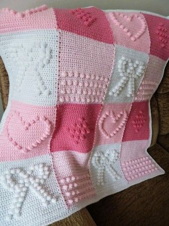 Hand Knitted Crochet Bobble Heart And Bowknot Blanket Free Pattern