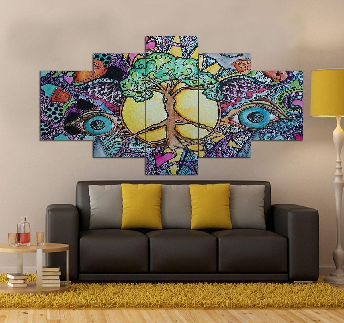 Peace Hippie Canvas Wall Art Set Decor 5 Piece Canvas Art Prints H Canvas Art Wall Decor Canvas Wall Art Set 5 Piece Canvas Art