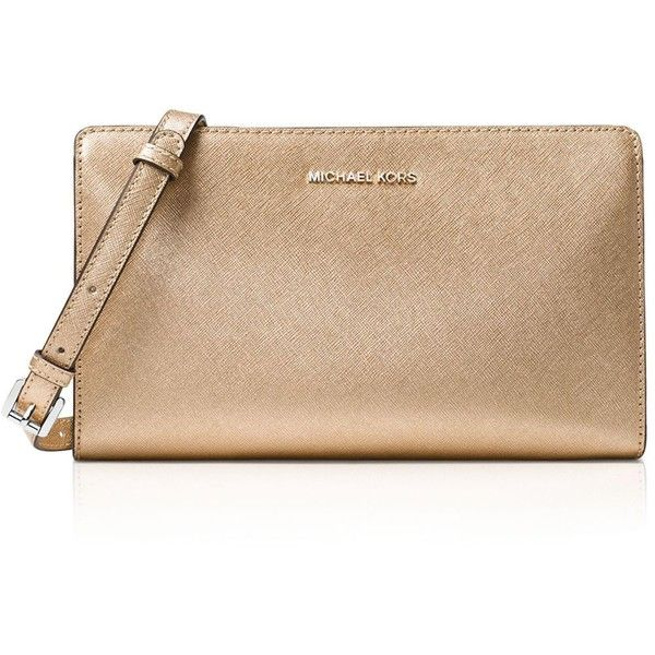 Michael Michael Kors Jet Set Travel Large Metallic Crossbody (235 CAD) ❤ liked on Polyvore featuring bags, handbags, shoulder bags, pale gold, travel crossbody, metallic purse, metallic shoulder bag, crossbody purses and metallic crossbody