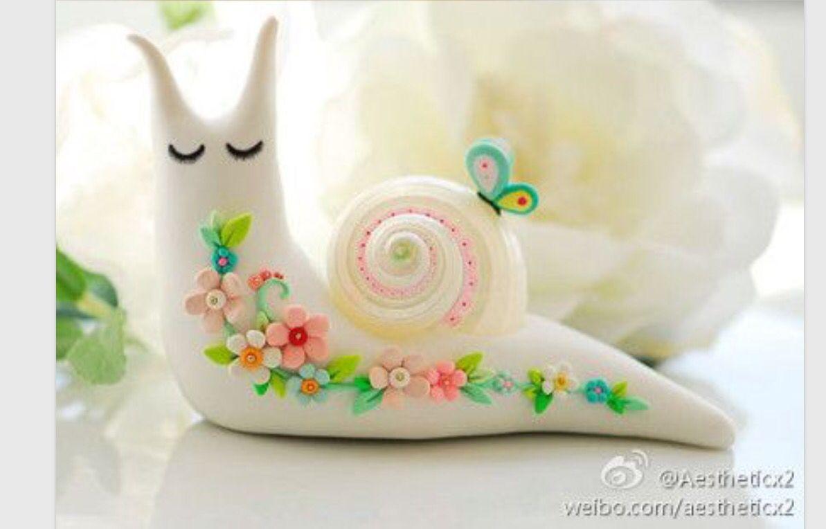 Snail polymer clay creation figure