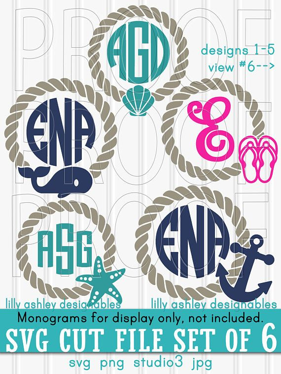 Beach Svg Files Set Of 6 Cut Also With Png Jpg File Formats Nautical Anchor Monogram Summer Monograms Not Included Vinyl Spring