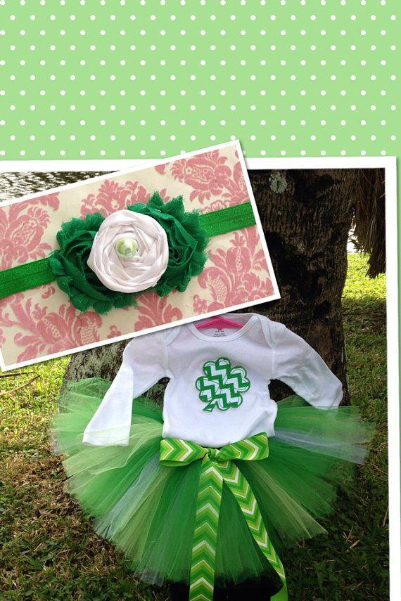 St Patrick's Day Outfit, St Patrick's Tutu Onesie Headband Set, Shamrock Headband, Baby Girl Shamrock Outfit, Shamrock Onesie, Green Tutu on Etsy, $45.00