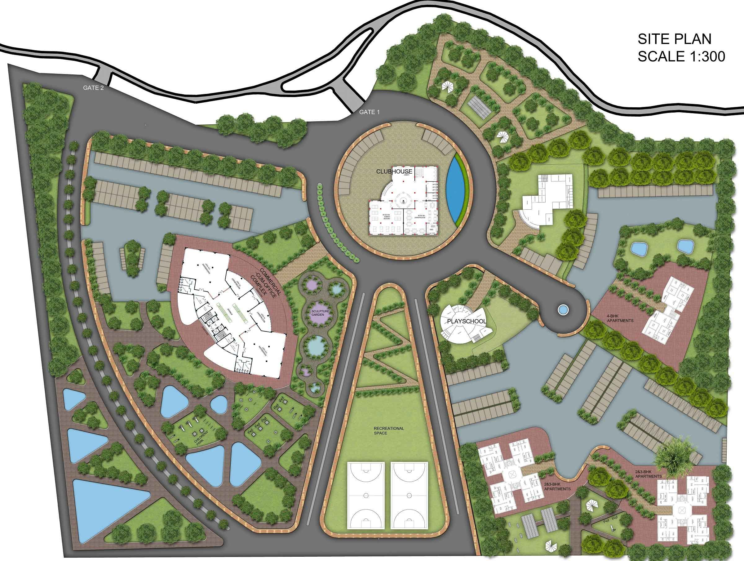Mix Use Complex Site Plan Rendering With Ground Floor Plans Site Plan Rendering Site Plan Ground Floor Plan