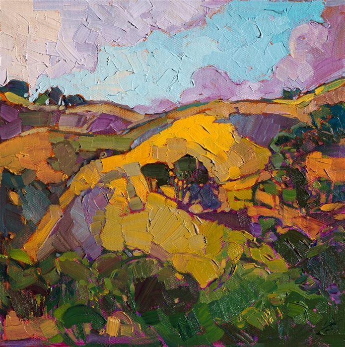 Mustard Hills Original Oil Painting On Board By Erin Hanson