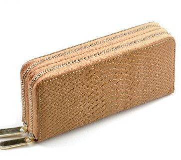 Women's Crocodile Double Zipper Wallet