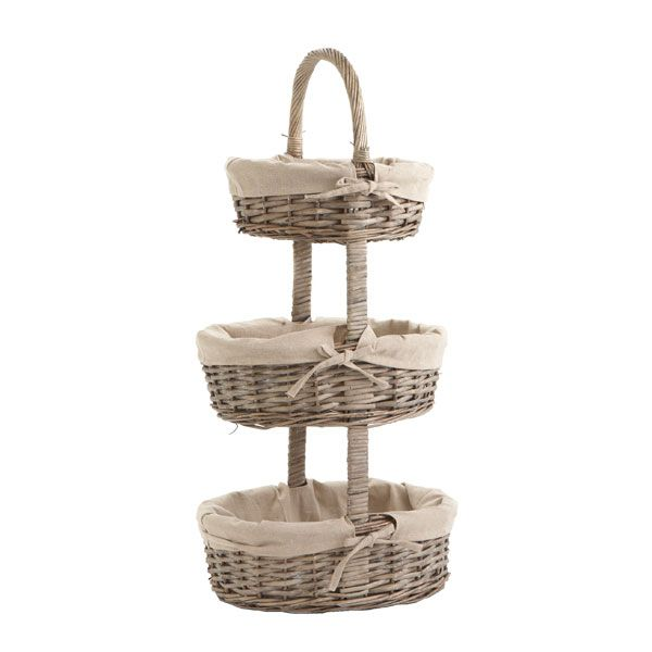 Three tiered lined basket tower....could be used anywhere!