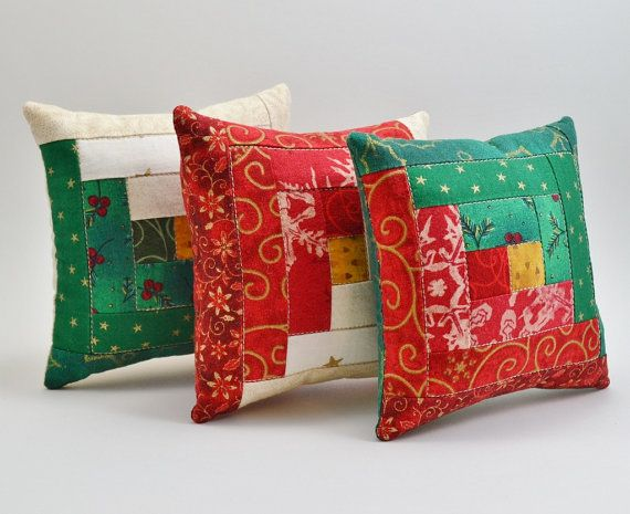 Christmas Colors Log Cabin Decorative Pillows  by RyensMarketplace, $15.00