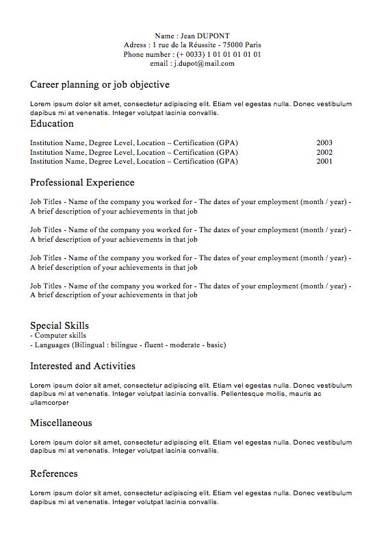 CV Classic N°1   Curriculum Vitae   International cvs ...