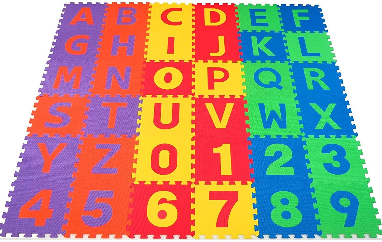 Nontoxic 36 Piece Abc Foam Mat Alphabet Number Puzzle Play