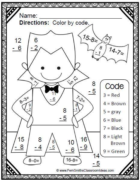 Halloween Halloween Math Activities Halloween Math Math Coloring Worksheets