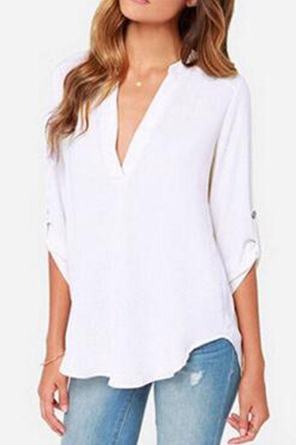 Chiffon V Neck Asymmetric Hem Plain Long Sleeve Shirts