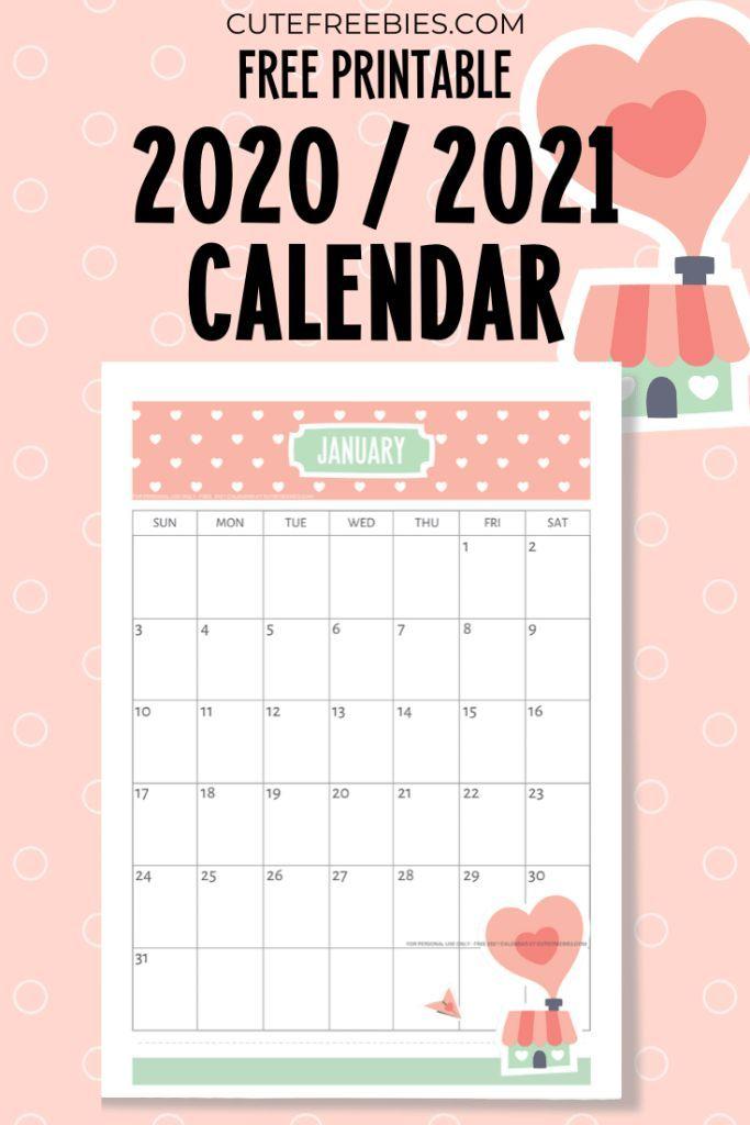 Calendario 2020 2021 Gratis Free Printable 2021 Calendar   Super Cute!   Cute Freebies For You