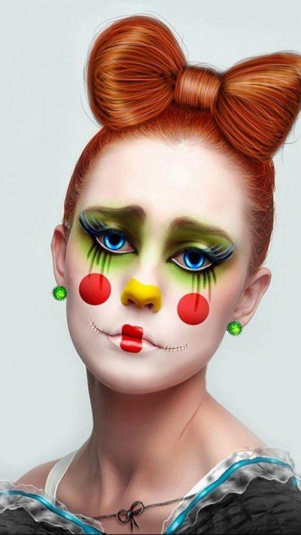 cool halloween clown makeup for women DIY makeup ideas bow ...