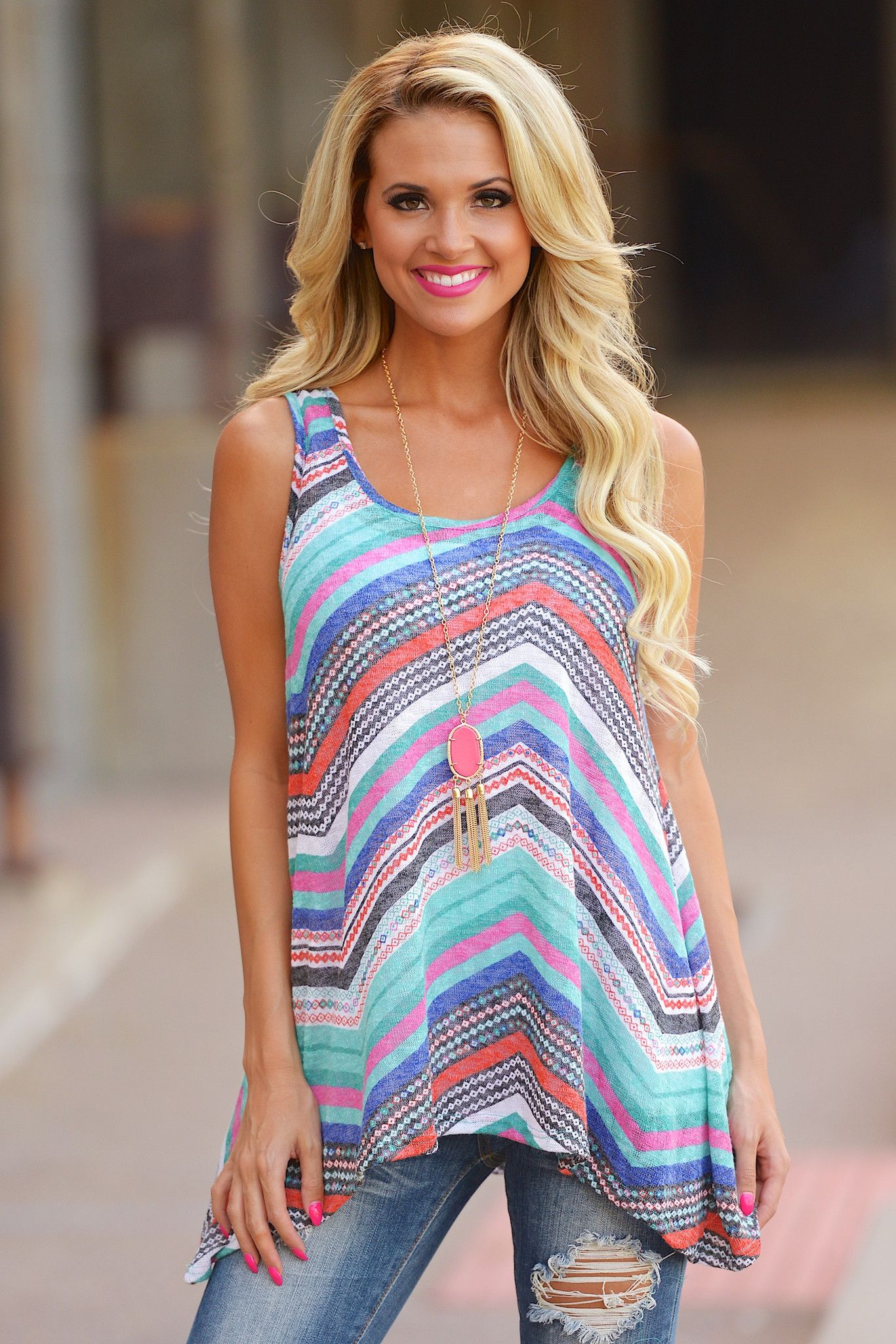 Ride The Wave Tank (S to 1XL) from Closet Candy Boutique