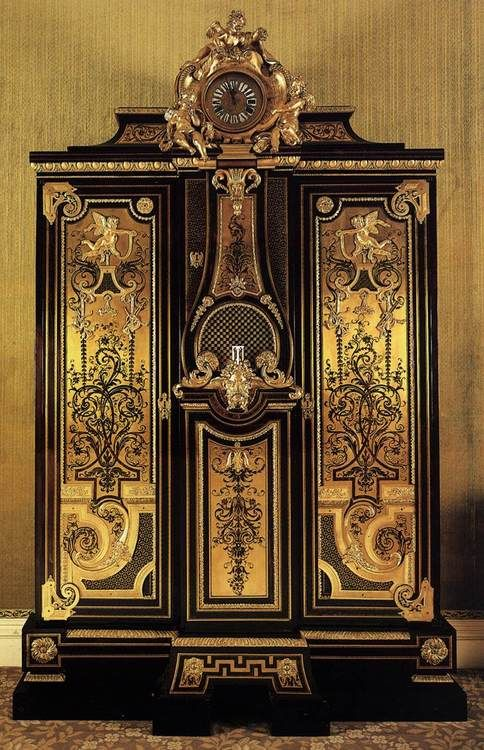 Andre Charles Boulle wardrobe and clock 1715 Wallace Collection ...