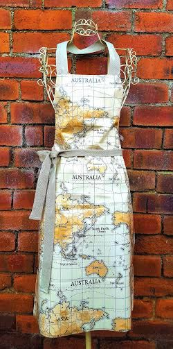 World Map Apron Retro Full Apron Pretty Antique Style