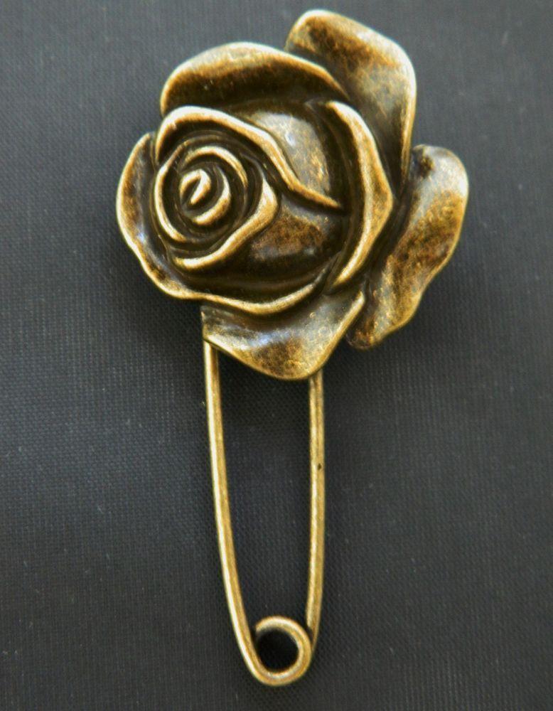 Rose Jumbo Safety Pin Brooch Key Charm Holder Coat Sweater Pin Bronze Tone…