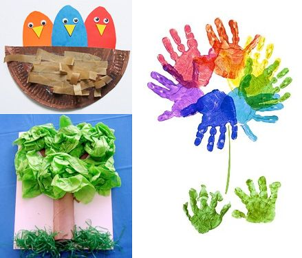 Spring ish Crafts To Try Hand print tree Bird and Craft