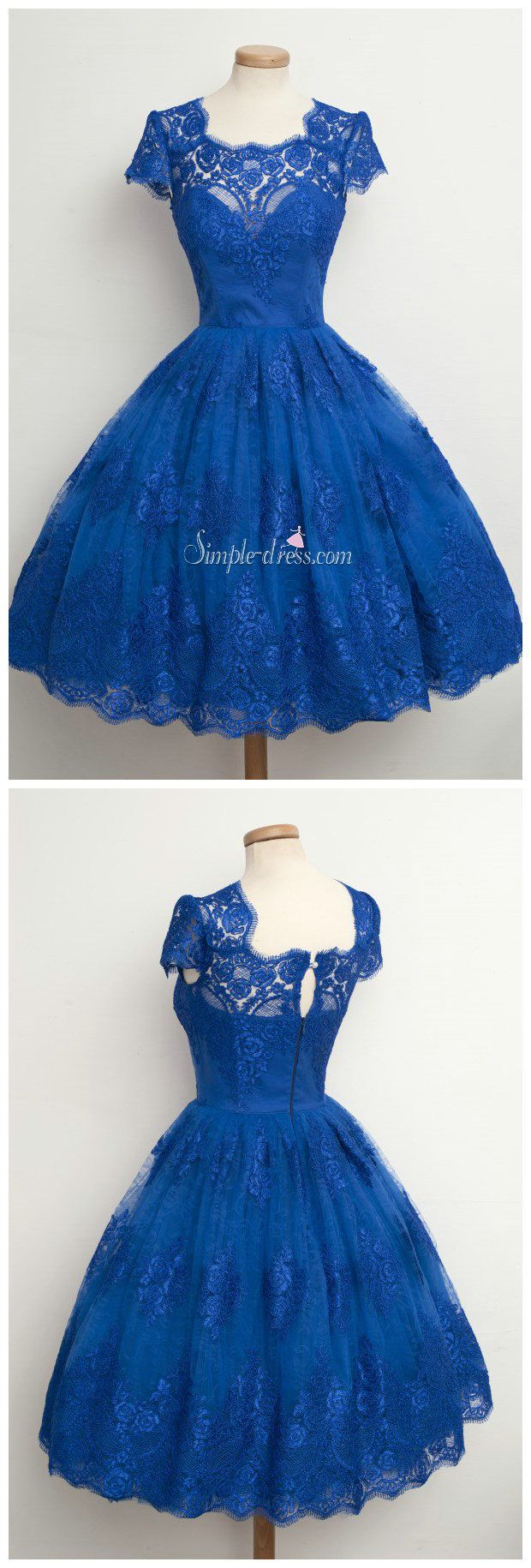 Vintage scallopededge cap sleeves lace blue short prom cocktail