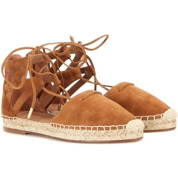 Aquazzura Belgravia Suede Espadrilles (€350) ❤ liked on Polyvore featuring shoes, sandals, flats, brown, brown shoes, brown suede flats, suede espadrilles, flats sandals and brown suede shoes