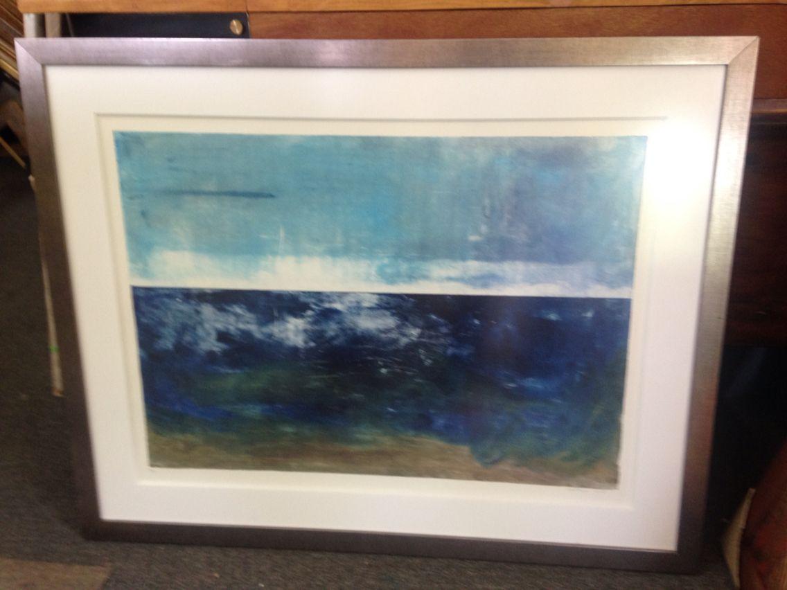 Grabado pintado en óleo con foam board blanco, vidrio opaco, y marco ...