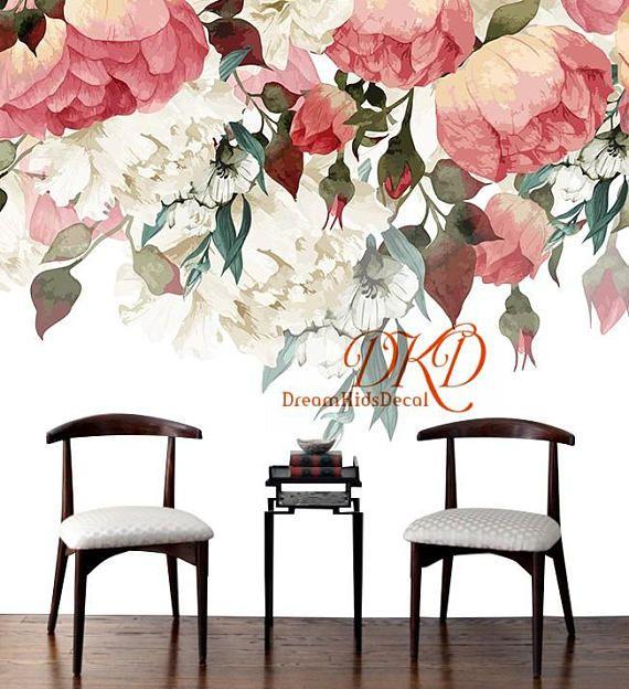 Large Peony Flowers Mural, Self-adhesive Wallcoverings, Vintage ...