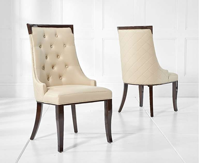Angelica Cream Faux Leather Dining Chairs In 2020 Leather Dining
