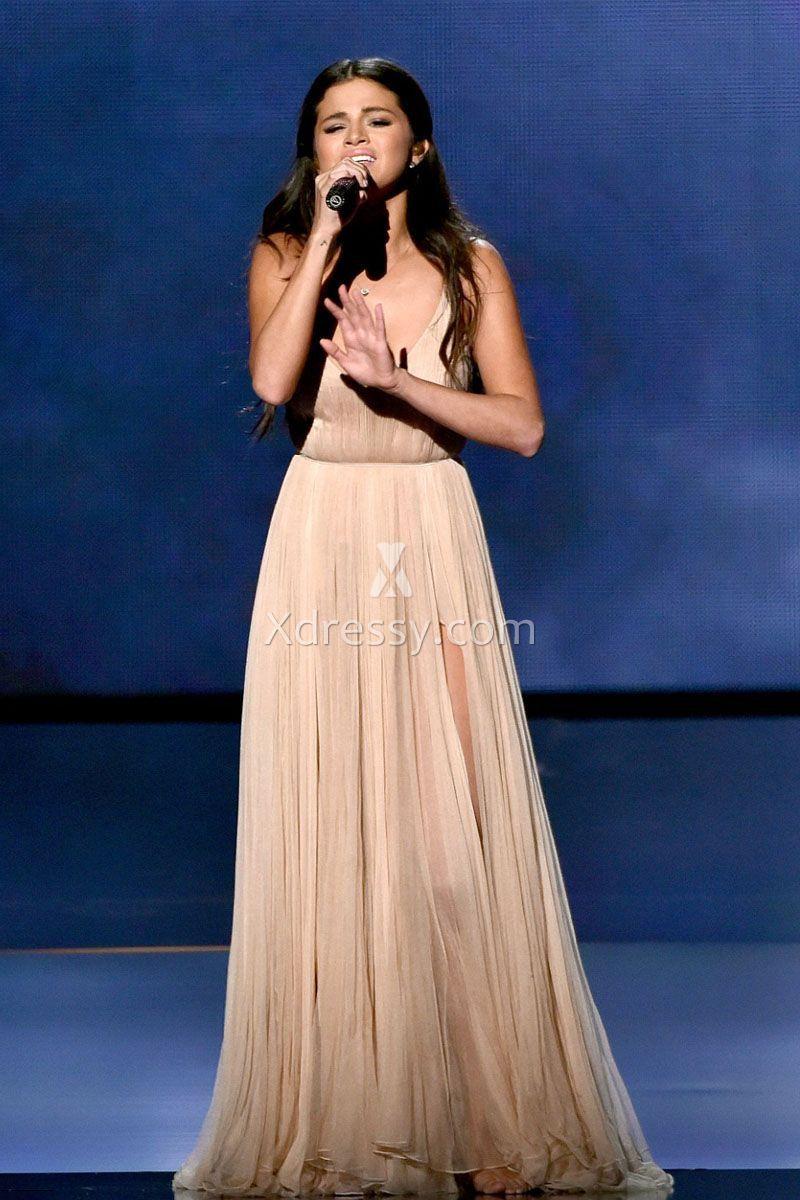 Selena gomez champagne deep vneck celebrity prom dress american