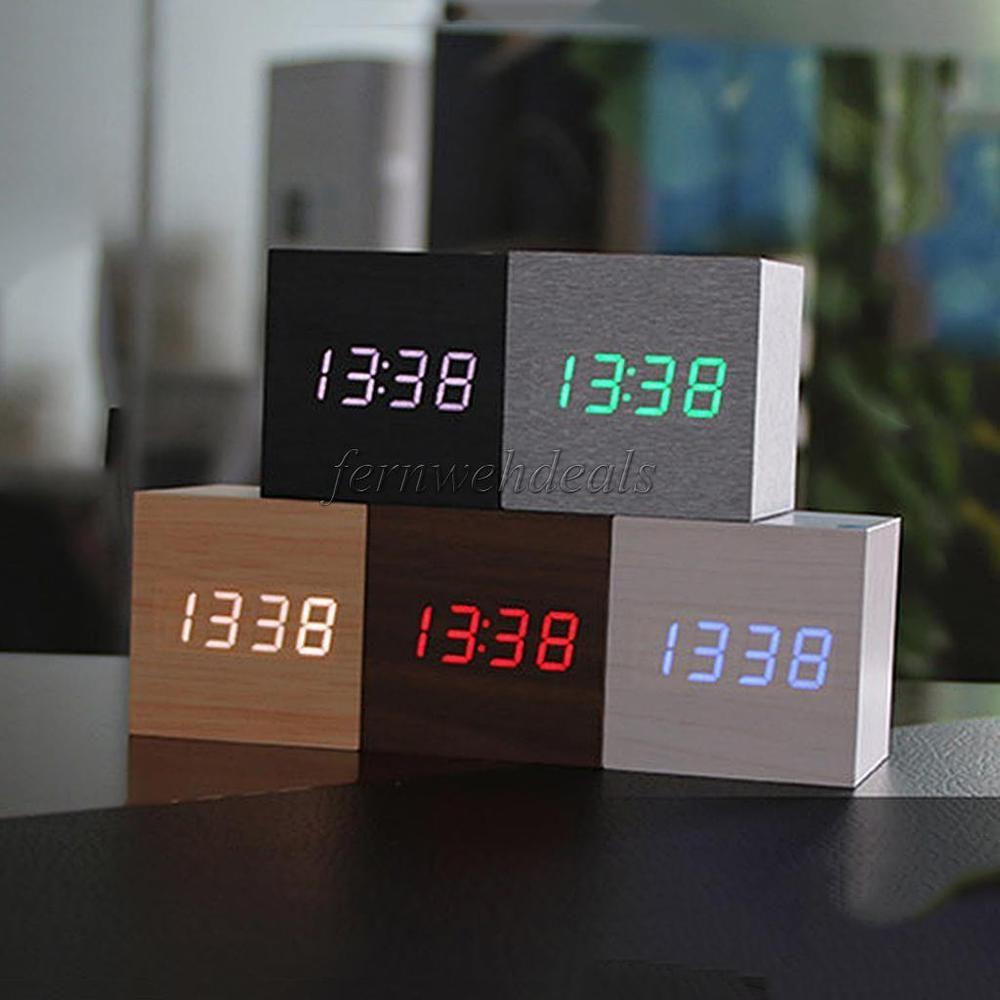 1x Holz Wecker Digital Uhr Tischuhr Thermometer Sprachsteuerung Ebay Tischuhr Wecker Uhrideen