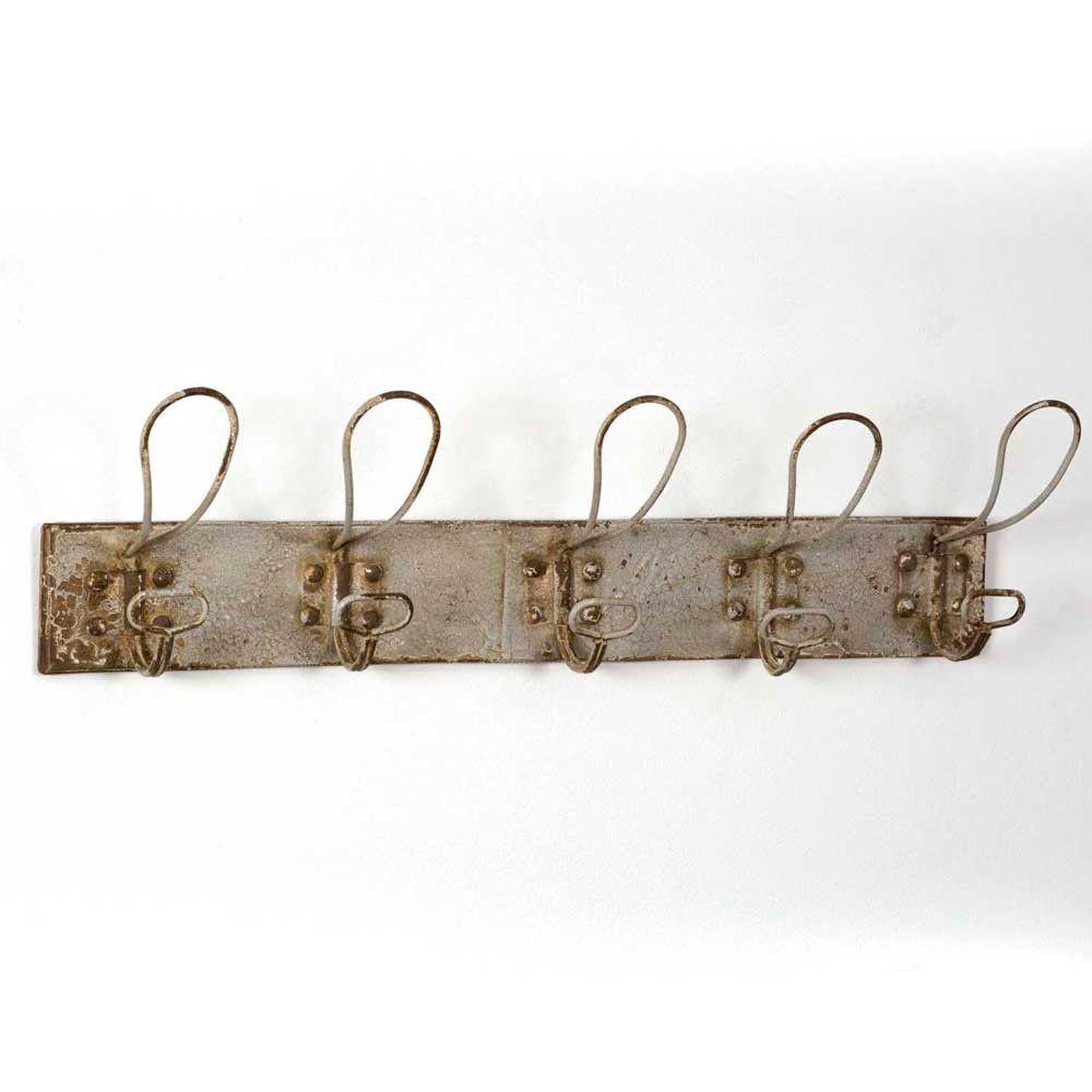 82ef5bfe255 Rustic Primitive Sturdy Metal Wall Mounted 5 Hook Ivory Coat Rack ...