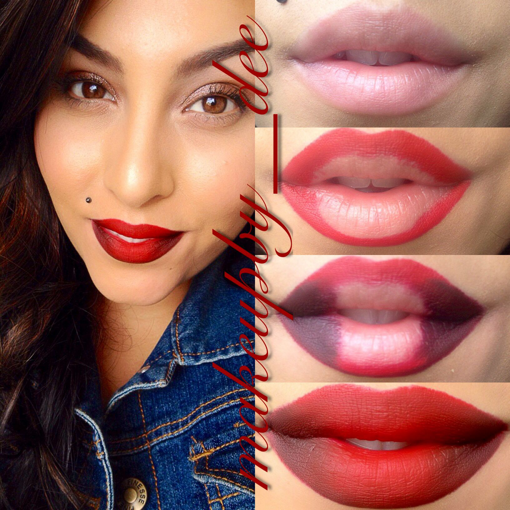 Red ombré lip how to Ombre lips tutorial, Beauty hacks
