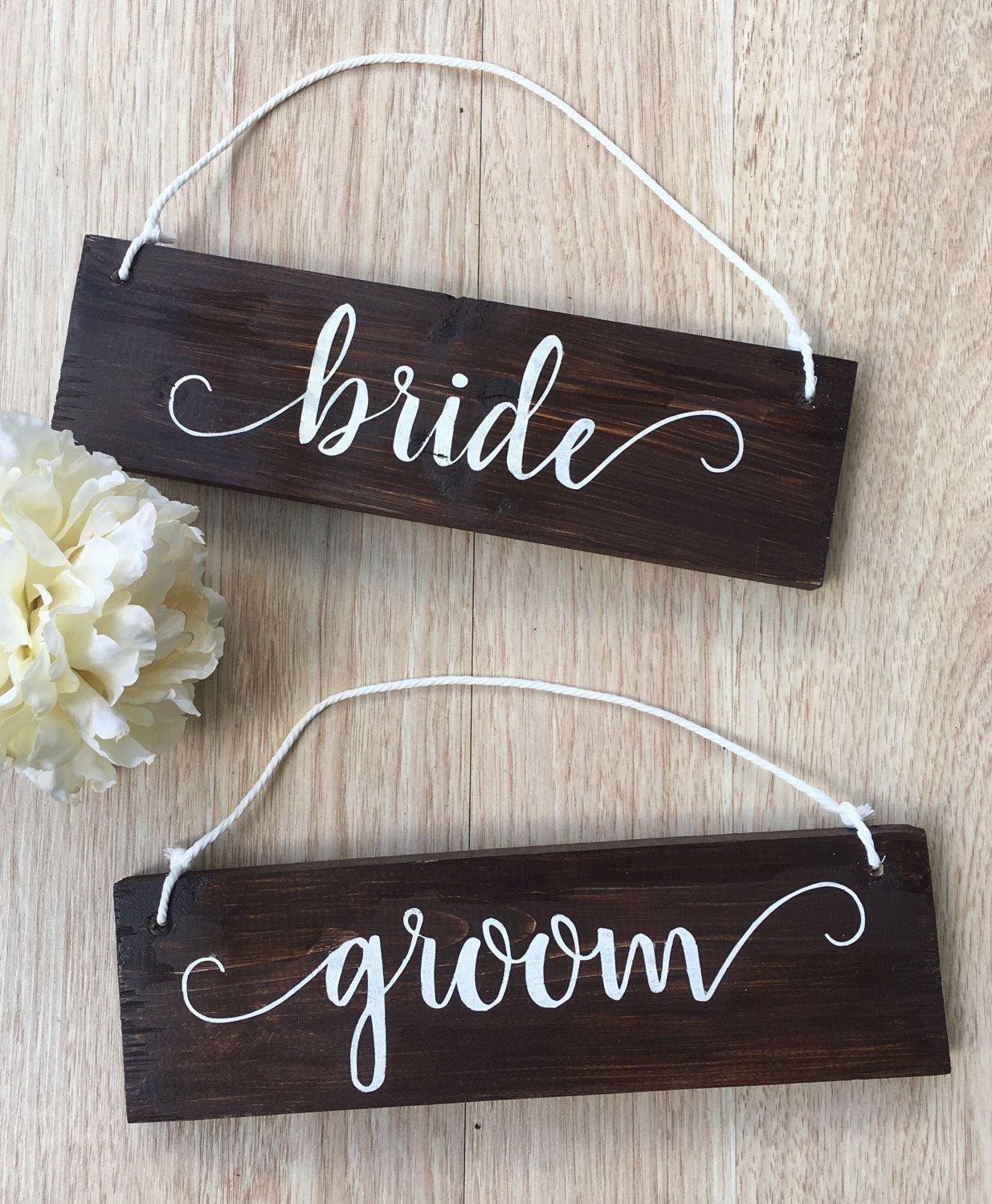 Bride And Groom Chair Signs Rustic Wood Wedding Rehearsal Dinner Decor