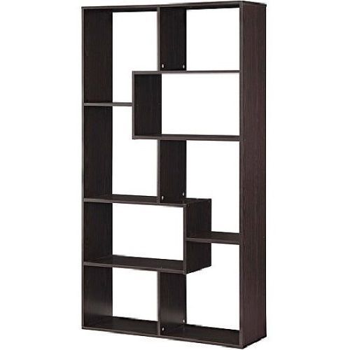 Espresso Bookcase Versatile 8 Shelf Off Beat Avangard Style