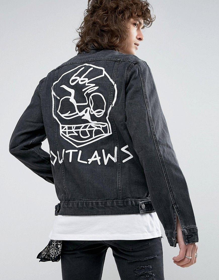 5ddb15624 Roadies of 66 Destroyed Washed Black Denim Jacket with Back Print ...