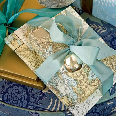 up-cycled maps as wrapping paper = love!