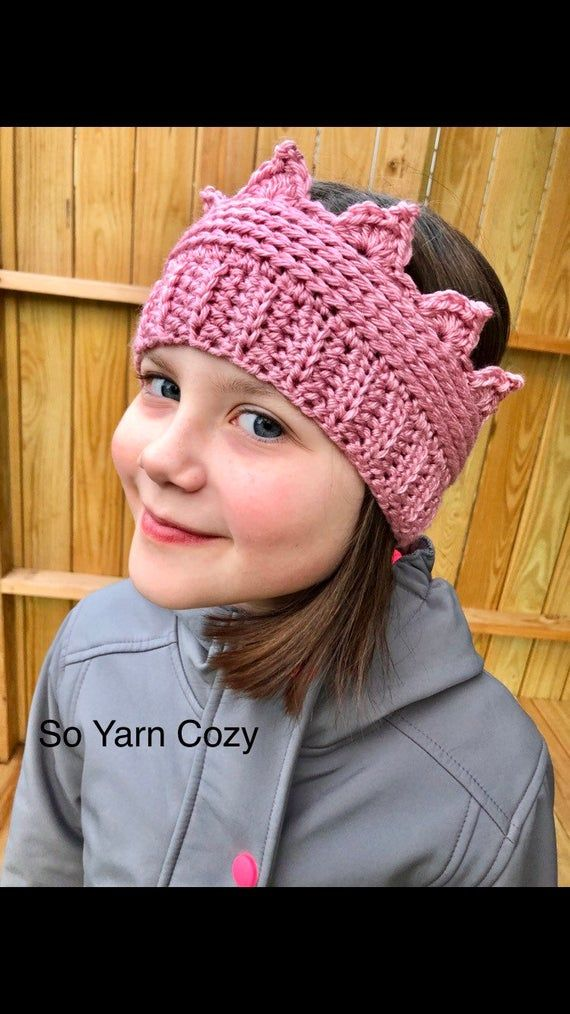 Toddler - Child crown ear warmer. Crown hat. Custom color.  Knit crochet handmade crown. Crown headb #crownheadband
