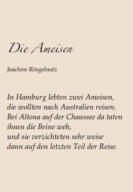 Joachim Ringelnatz Die Ameisen Ringelnatz Gedichte Und