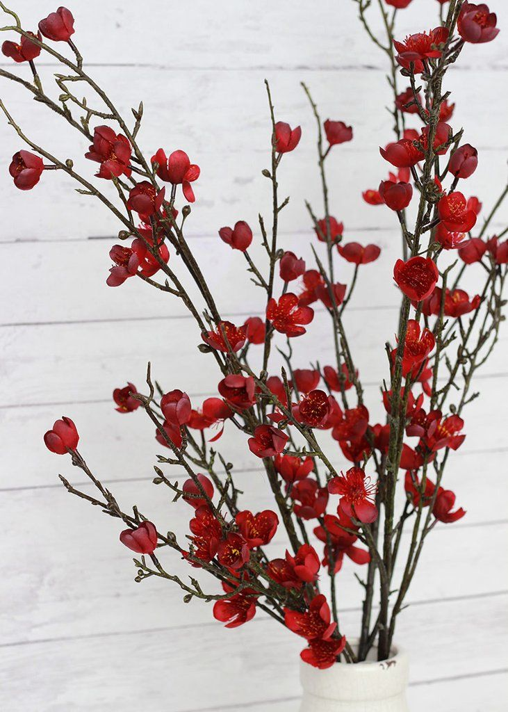 Faux Savannah Plum Blossom Spray In Marsala Wine Br 40 Tall Plum Blossom Branch Plum Blossom Chinese Blossom