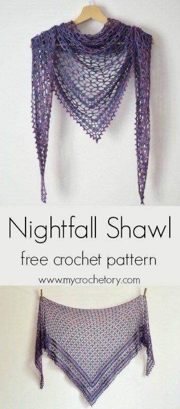 Crochet Nightfall Shawl - free crochet pattern by #crochetshawlfree