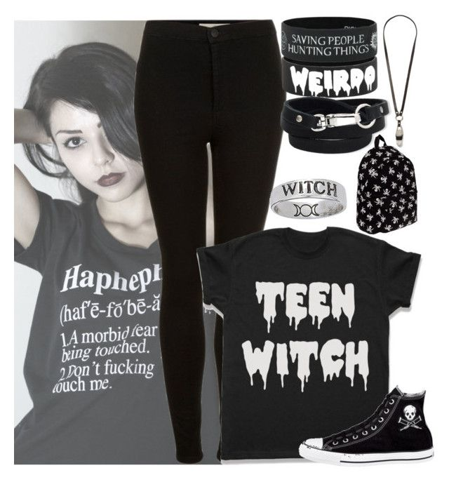 """Just a little witch."" by weird-witch ❤ liked on Polyvore featuring ABVHVN, Topshop, JAKIMAC and Converse"