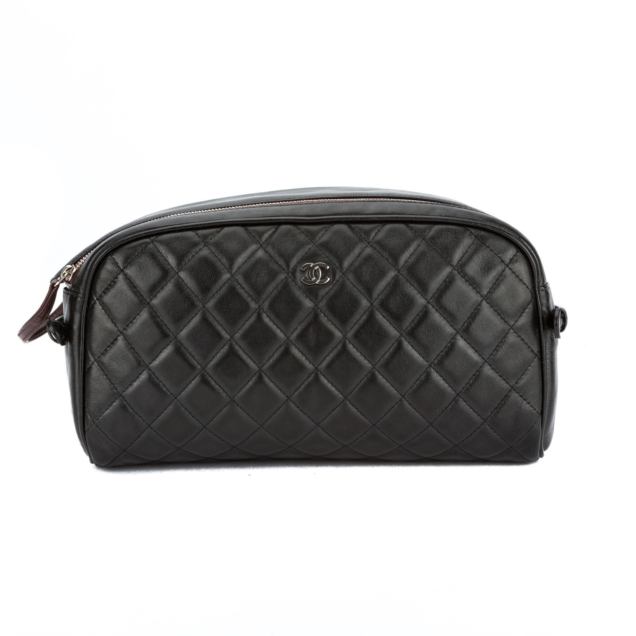 cc17f1b541 Chanel Black Quilted Lambskin Leather Matrasse Cosmetic Pouch (Pre Owned)