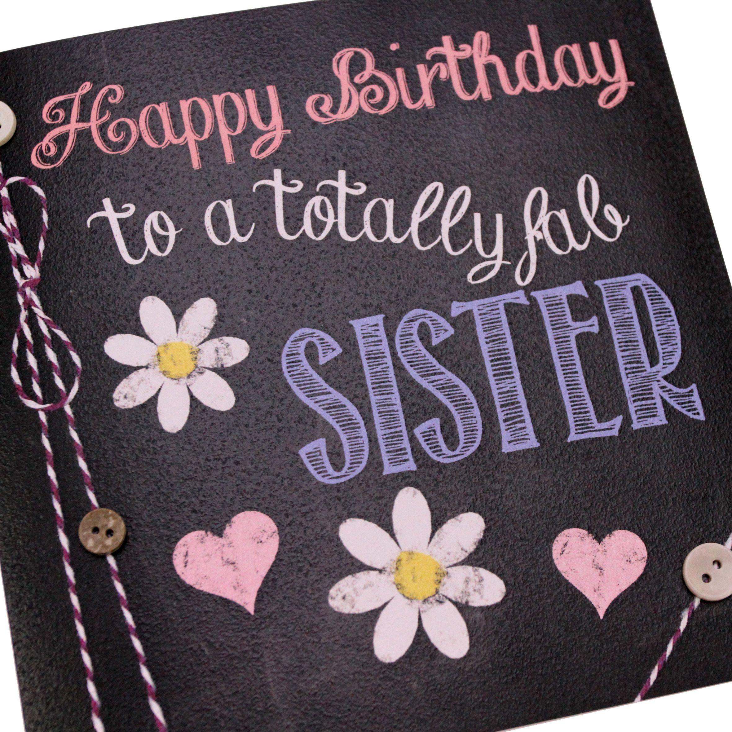 Handmade Chalk Effect Chalkboard Birthday Card Sister Hearts