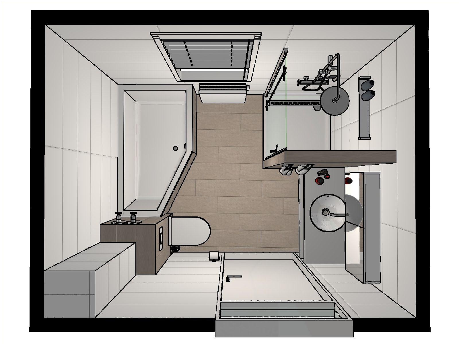 Idee voor de indeling van een kleine badkamer: door onze ...