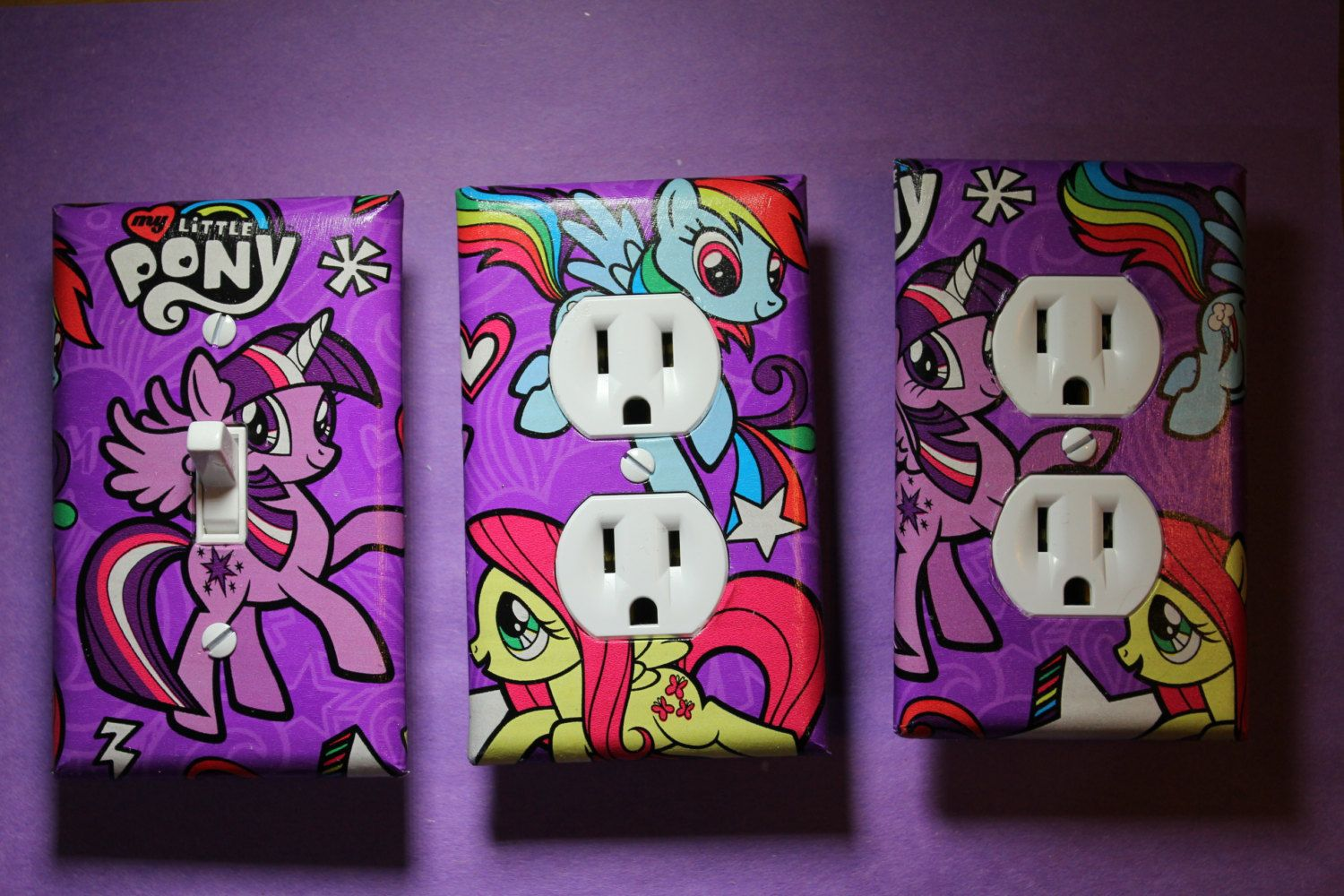 My Little Pony Light Switch Socket Cover Set S Childs Kids Room Home Decor Twilight Sparkle Fluttershy Rainbow Dash Bronie Brony By Comicrecycled On