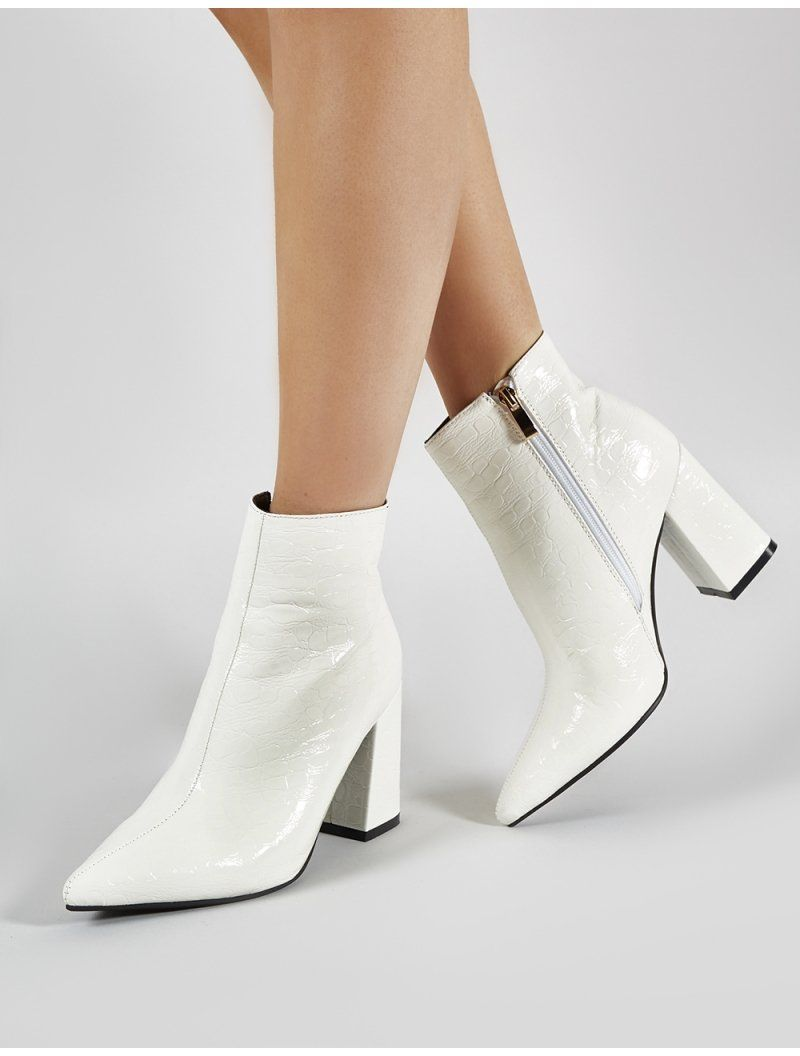 Hollie Pointed Toe Ankle Boots in White
