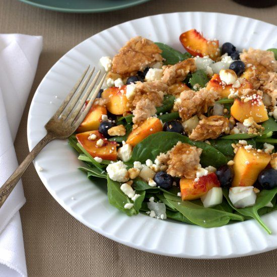 Spinach and Salmon Salad with Blueberries