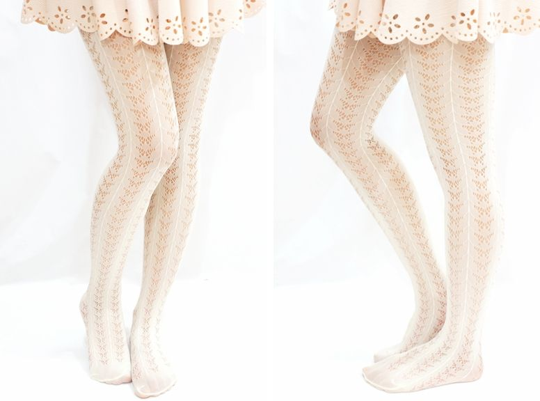 1f6fc51b8f2 Lolita Lace Dot Stripe White Fishnet Tights